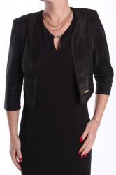 Dámska krátky lurexový kabátik s paspólom - čierny