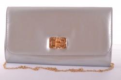 Dámska lakovaná spoločenská kabelka so zlatým zapínaním