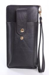 Dámska peňaženka s púzdrom na mobil (18x9,5x4,5 cm) - čierna