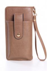 Dámska peňaženka s púzdrom na mobil (18x9,5x4,5 cm) - hnedá 1.
