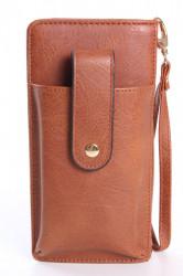 Dámska peňaženka s púzdrom na mobil (18x9,5x4,5 cm) - hnedá