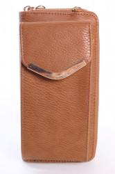 Dámska peňaženka s púzdrom na mobil a so zlatou ozdobou  (18x9,5x4,5 cm) - hnedá