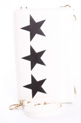 Dámska peňaženka s púzdrom na mobil HVIEZDY - biela (18x11x4 cm)
