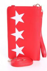Dámska peňaženka s púzdrom na mobil HVIEZDY - červená (18x11x4 cm)