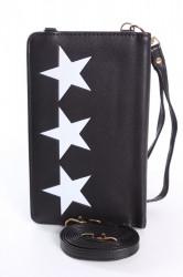 Dámska peňaženka s púzdrom na mobil HVIEZDY - čierna (18x11x4 cm)