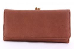Dámska peňaženka so zlatým zapínaním - škoricová
