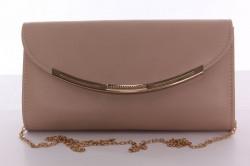 Dámska spoločenská kabela s ozdoným lemom (0297-35) - béžová (26x14x5 cm)