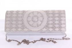 Dámska spoločenská kabelka (CK-20) - strieborná(24x12x5 cm)