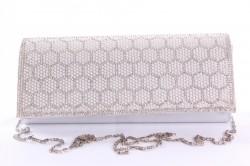Dámska spoločenská kabelka (CK-21) - strieborná (24x12x5 cm)