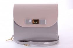 Dámska spoločenská kabelka lakovaná (18x16x5 cm) - ružovo-sivá