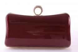 Dámska spoločenská kabelka lakovaná a ozdobená so štrasmi (ZL2042) - bordová (19x10x5 cm) #1