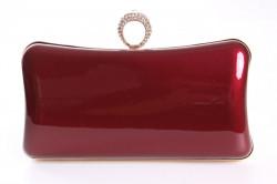 Dámska spoločenská kabelka lakovaná a zdobená  štrasmi (ZL2042)- bordová (19x10x5 cm)