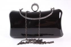 Dámska spoločenská kabelka lakovaná a zdobená  štrasmi (ZL2042)- čierna (19x10x5 cm) #1
