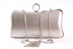 Dámska spoločenská kabelka lakovaná a zdobená  štrasmi(ZL2042)-strieborno-sivá(19x10x5 cm) #1
