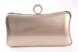 Dámska spoločenská kabelka lakovaná a zdobená  štrasmi (ZL2042)- zlatá (19x10x5 cm)