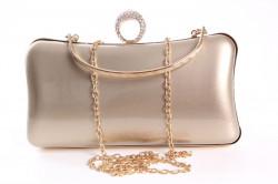 Dámska spoločenská kabelka lakovaná a zdobená  štrasmi (ZL2042)- zlatá (19x10x5 cm) #1