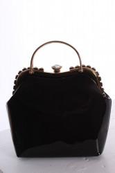 Dámska spoločenská kabelka ozdobená s kamienkami - čierna (25x25x9 cm)