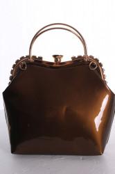 Dámska spoločenská kabelka ozdobená s kamienkami - hnedá (25x25x9 cm)