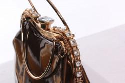 Dámska spoločenská kabelka ozdobená s kamienkami - hnedá (25x25x9 cm) #1