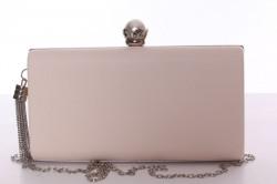 Dámska spoločenská kabelka s ozdobným gombíkom (6228) - béžová (22x12x14 cm)