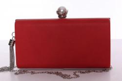 Dámska spoločenská kabelka s ozdobným gombíkom (6228) - červená (22x12x14 cm)