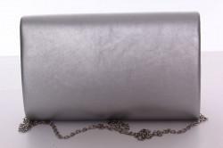 Dámska spoločenská kabelka s ozdobným lemom (6196) - strieborná (24x15x5 cm) #1