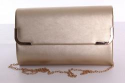Dámska spoločenská kabelka s ozdobným lemom (6196) - zlatá (24x15x5 cm)