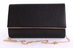 Dámska spoločenská kabelka so zlatým lemom 1. (22x14 cm) - čierna