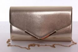 Dámska spoločenská kabelka so zlatým lemom (E1020-17) - zlatá (26x14x5 cm)