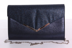 Dámska spoločenská kabelka trblietavá (9076) - modrá (27x18x4,5 cm)