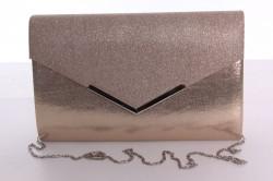 Dámska spoločenská kabelka trblietavá (9076) - šampanskej farby (27x18x4,5 cm)