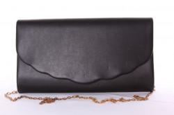 Dámska spoločenská listová kabelka (0297-28) - čierná (27x16x4,5 cm)