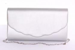 Dámska spoločenská listová kabelka (0297-28) - strieborná (27x16x4,5 cm)