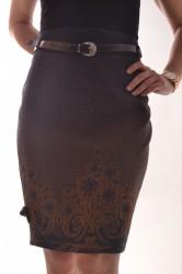 Dámska sukňa s hnedým vzororm - tmavomodrá D3