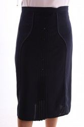 Dámska sukňa zdobená gombíkmi - tmavomodrá D3