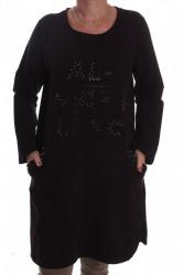 Dámska úpletová elastická tunika s korálkami - čierna