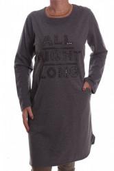 Dámska úpletová elastická tunika s korálkami - sivá D3