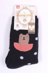 Dámske bavlnené THERMO ponožky (NV1326) VZOR 2. - tmavomodré