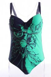 Dámske celé plavky s ružami a štrasmi - tmavomodro-zelené