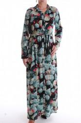 Dámske dlhé šaty vzorované - tyrkysovo-čierne