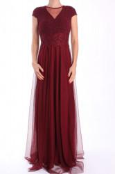 Dámske dlhé spoločenské šaty (38311) - bordové