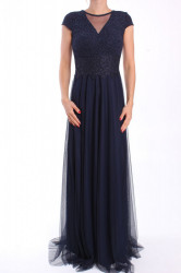 Dámske dlhé spoločenské šaty (38311) - tmavomodré