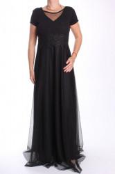 Dámske dlhé spoločenské šaty (38463) - čierne