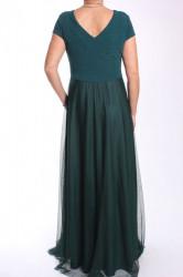 Dámske dlhé spoločenské šaty (38463) - tmavozelené #1