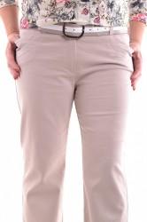 Dámske elastické nohavice s opaskom - béžové D32