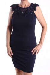 Dámske elastické šaty ozdobené s korálkami a flitrami - tmavomodré D3