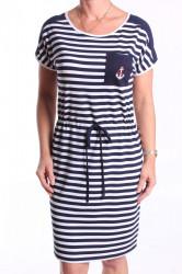 Dámske elastické šaty pásikavé s bielym lemovaním - tmavomodro-biele