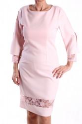 Dámske elastické šaty s čipkou M&M - bledoružové D3