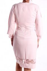 Dámske elastické šaty s čipkou M&M - bledoružové D3 #1