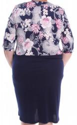Dámske elastické šaty s imitáciou kabátika VZOR 1. - tmavomodro-biele #1